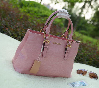miu miu Bright Leather Top Handle Bag RN6870 Pink