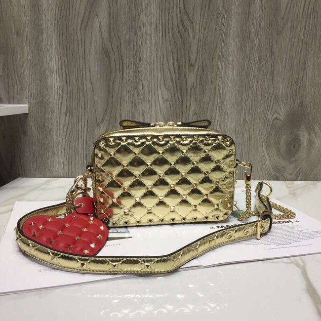 VALENTINO Rockstud leather camera cross-body bag 57367 gold