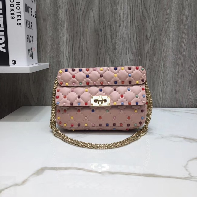 VALENTINO Rockstud small quilted leather shoulder bag A77562 pink
