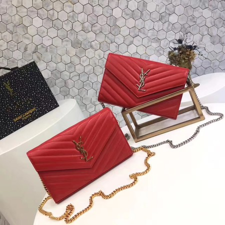 YSL WOC Classic Monogramme Flap Bag Cannage Pattern Y1003 Red