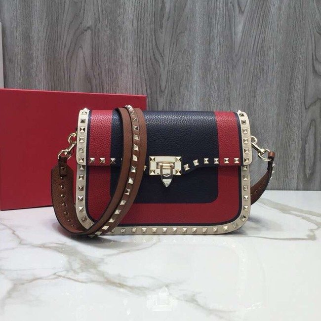 VALENTINO Rockstud grained leather messenger 0936B Black&red&white