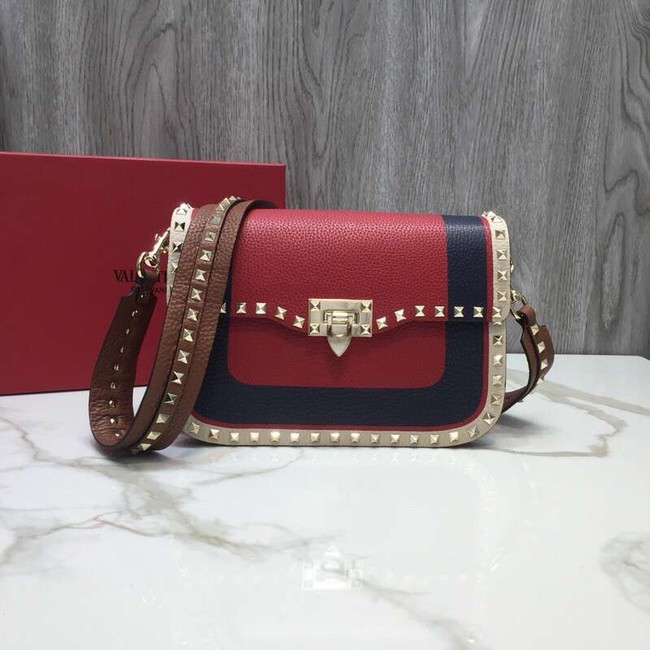 VALENTINO Rockstud grained leather messenger 0937B Black&red&white