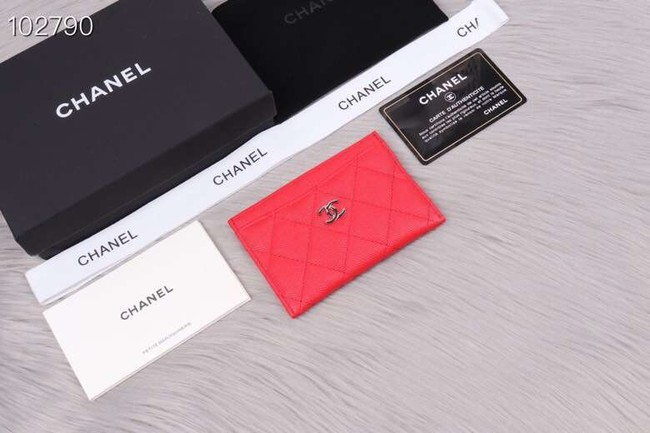 Chanel classic card holder Grained Calfskin & Gold-Tone Metal A31510 red