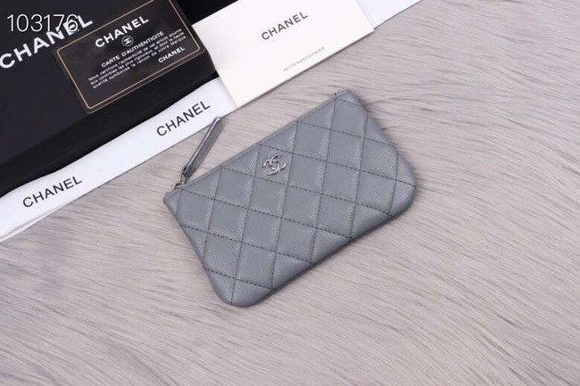 Chanel classic small pouch Grained Calfskin& silver-Tone Metal A82365 grey