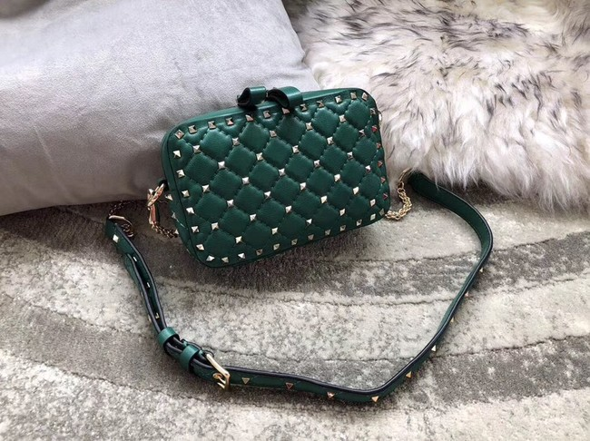 VALENTINO Rockstud leather camera cross-body bag 57367 green