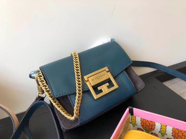 GIVENCHY GV3 leather and suede mini shoulder bag 1116 blue
