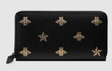 f32b6926d39 Gucci Bee Star leather zip around wallet 495062 black