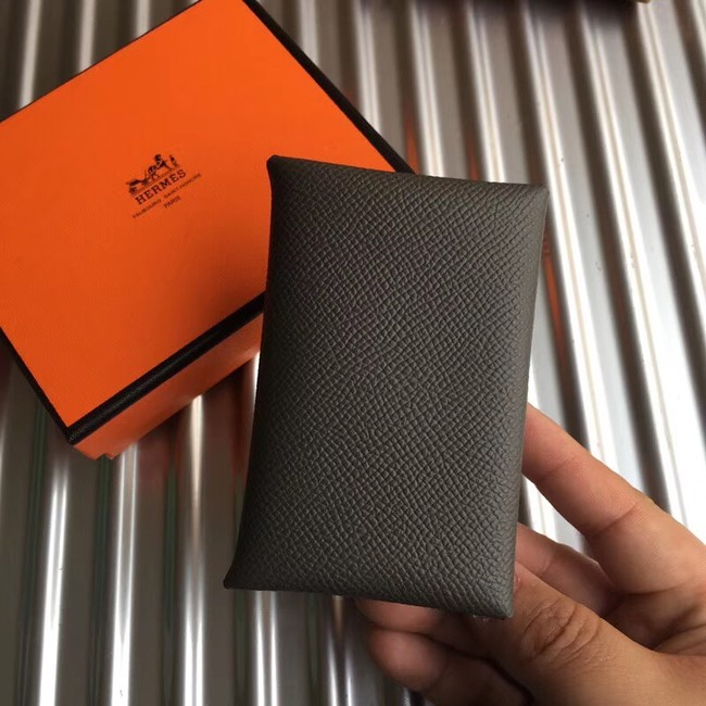 Hermes Bastia Epsom card case H0369 dark grey