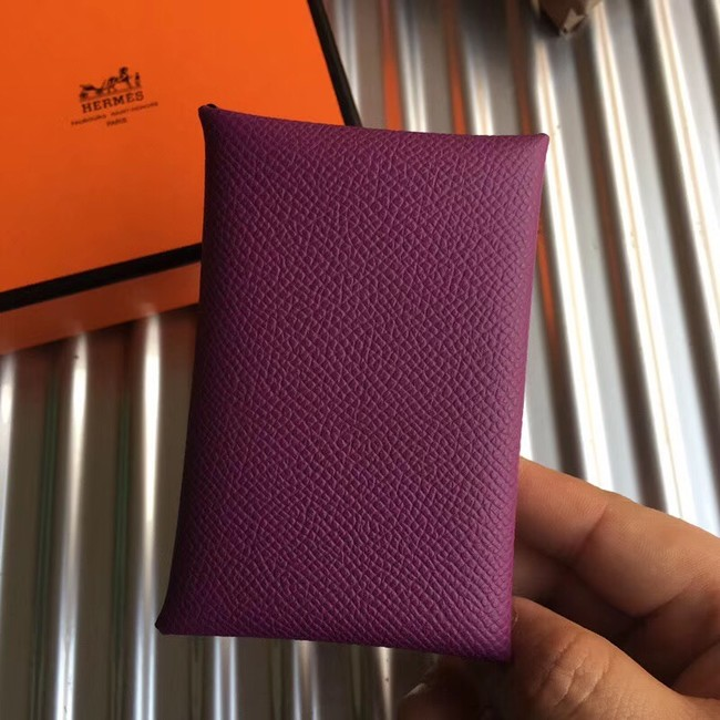 Hermes Bastia Epsom card case H0369 purple