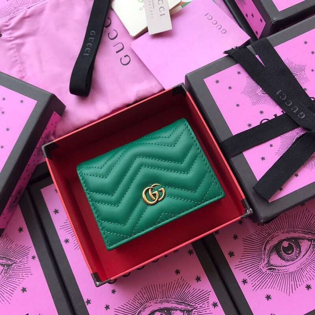 Gucci GG Marmont card case 466492 Green