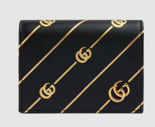 Gucci Leather card case with Double G stripe 548071 black