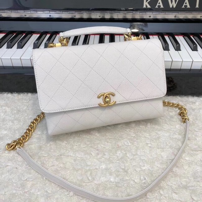 Chanel flap bag Grained Calfskin & Gold-Tone Metal AS0305 white