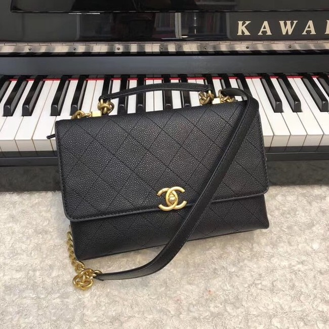 Chanel flap bag Grained Calfskin & Gold-Tone Metal AS0305 black