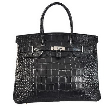 Hermes Birkin 35CM Tote Bags Crocodile Togo Leather Black Silver