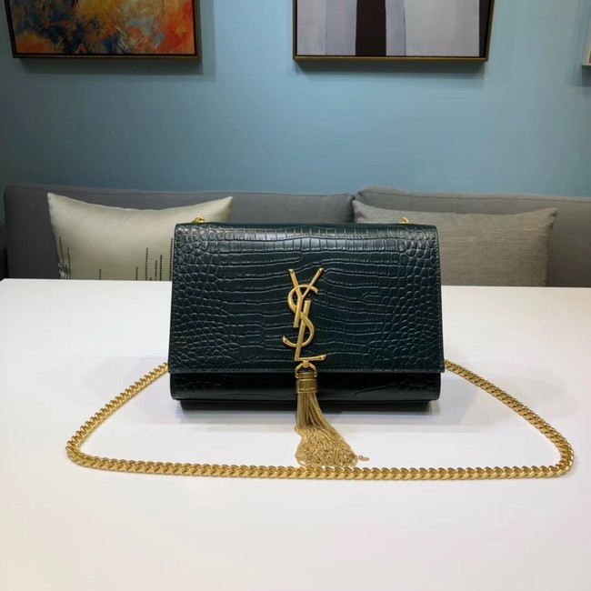 SAINT LAURENT Kate croc-embossed leather shoulder bag 474366 Blackish green