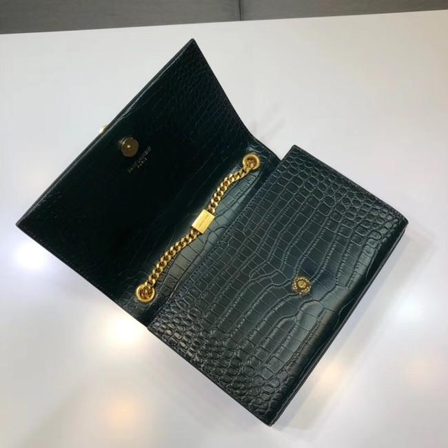 Saint Laurent Kate Croc Embossed Leather Shoulder Bag