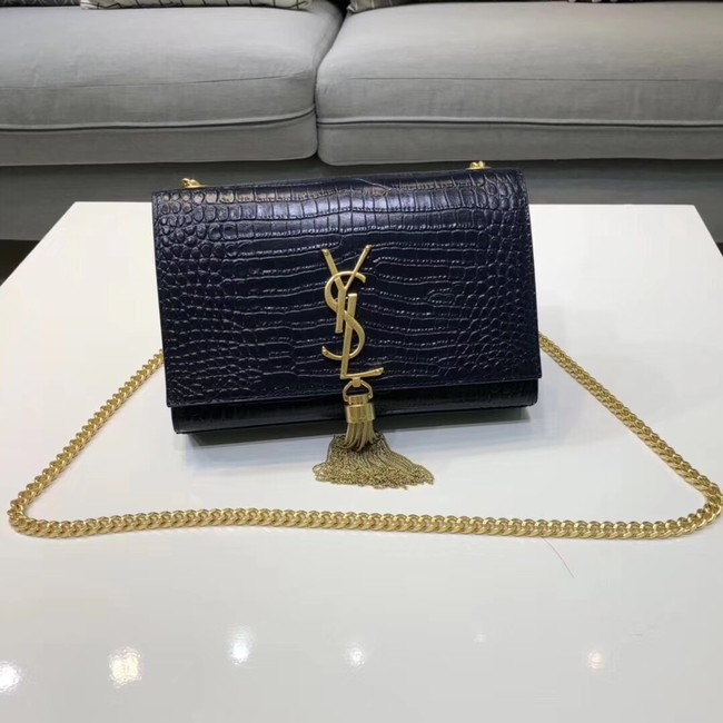SAINT LAURENT Kate croc-embossed leather shoulder bag 474366 Royal Blue
