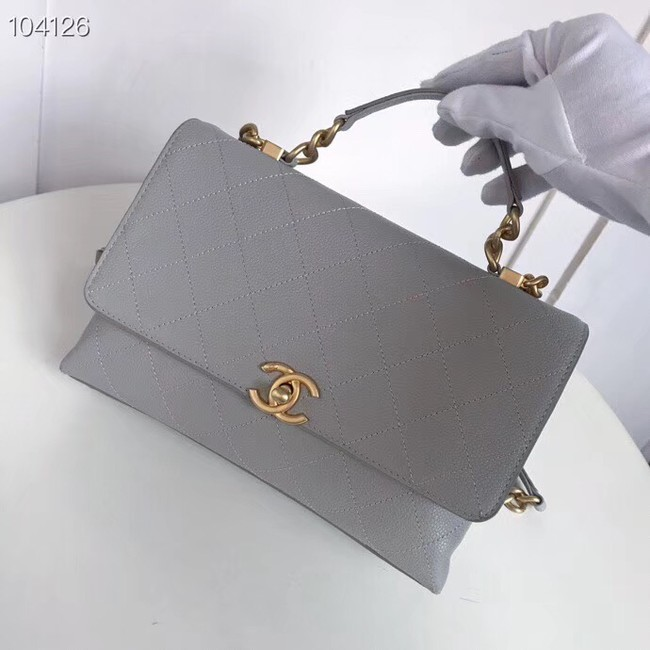 Chanel flap bag Grained Calfskin & Gold-Tone Metal AS0305 grey