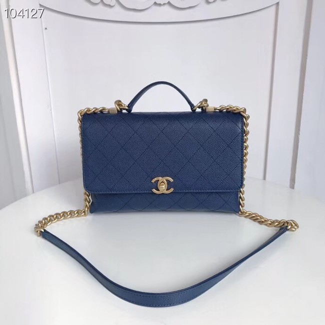 Chanel flap bag Grained Calfskin & Gold-Tone Metal AS0305 blue