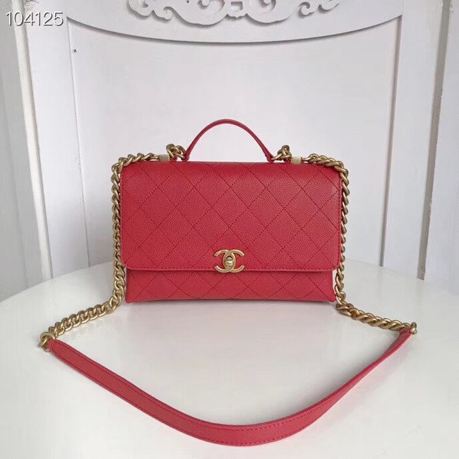 Chanel flap bag Grained Calfskin & Gold-Tone Metal AS0305 red