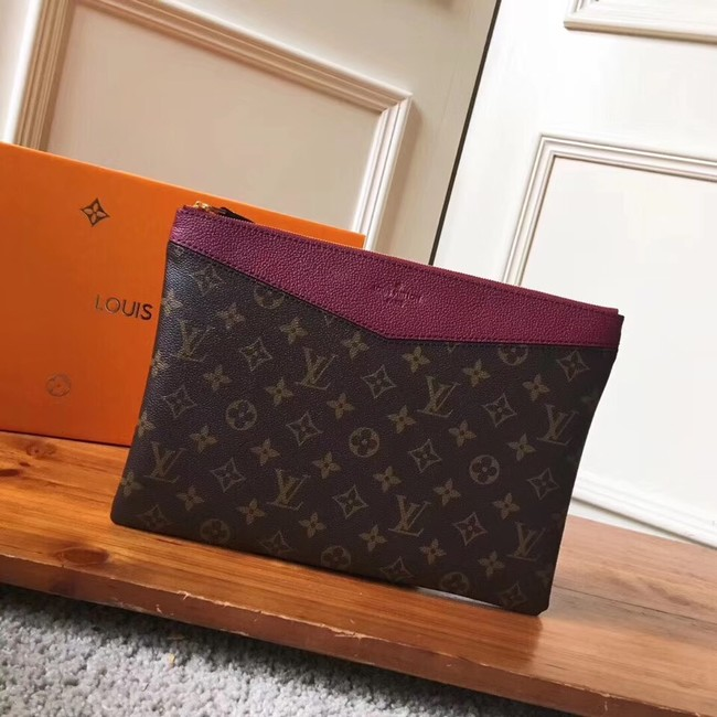 Louis vuitton original Monogram Canvas DAILY POUCH M62048 Bordeaux