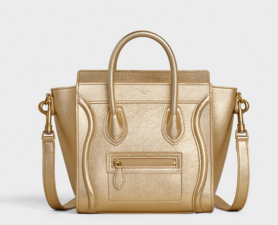 CELINE NANO LUGGAGE BAG IN LAMINATED LAMBSKIN 189243  GOLD
