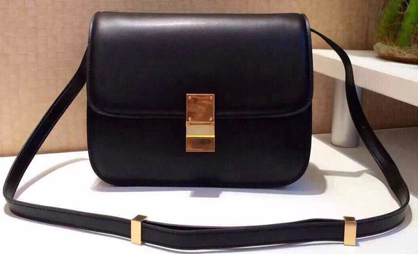 Celine Classic Box Flap Bag Calfskin Leather C2263 Black