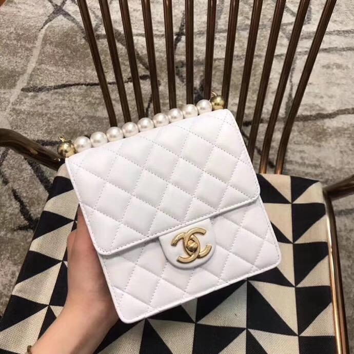 Chanel Flap Shoulder Bag Sheepskin Leather 77398 white