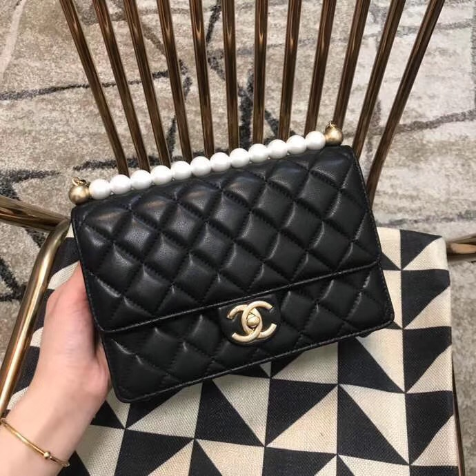 Chanel Flap Shoulder Bag Sheepskin Leather 77399 black