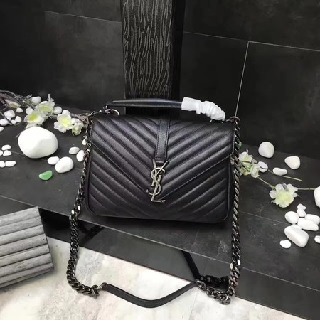 YSL Classic Monogramme Black Leather Flap Bag Y392737 Silver