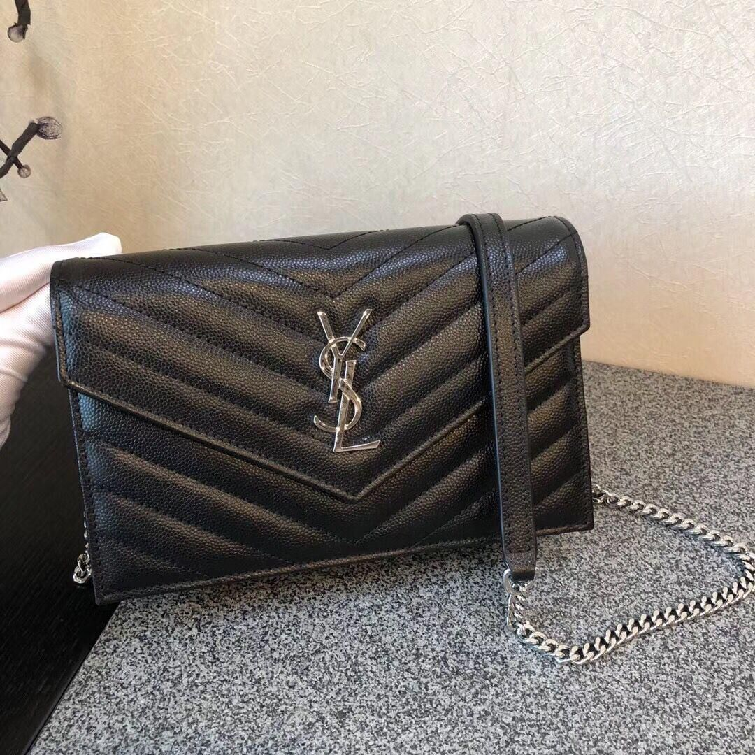 YSL Classic Monogramme Flap Black Bag Cannage Pattern Y377828S Silver
