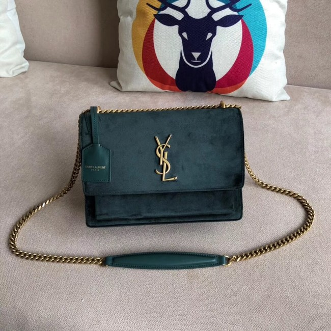 SAINT LAURENT Monogram Sunset medium velvet cross-body bag 442906 green