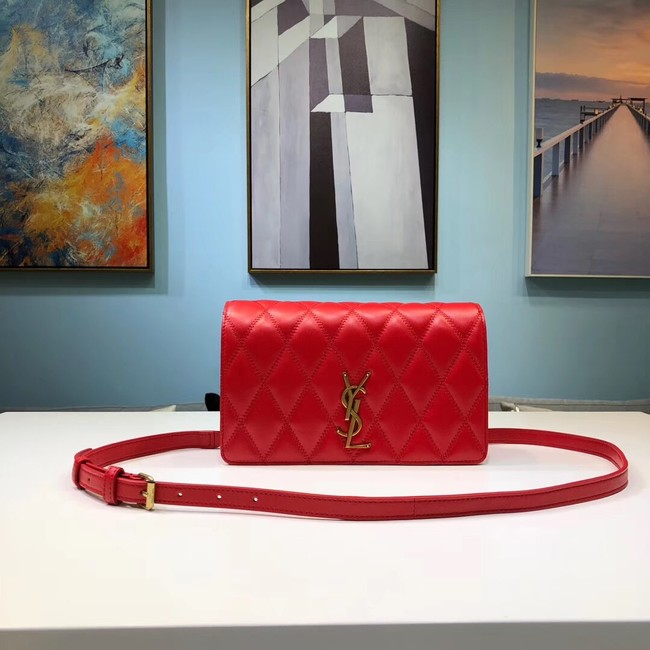SAINT LAURENT Angie quilted leather shoulder bag 568906 red