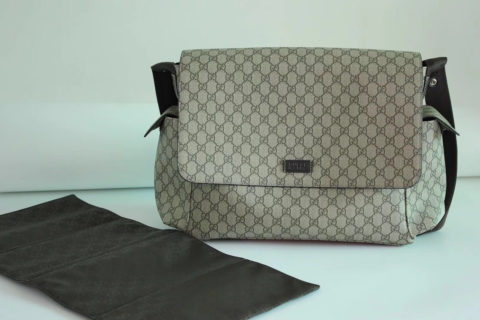 df72fa62b5c Gucci Messenger Diaper Bag GG Plus 211131 Grey