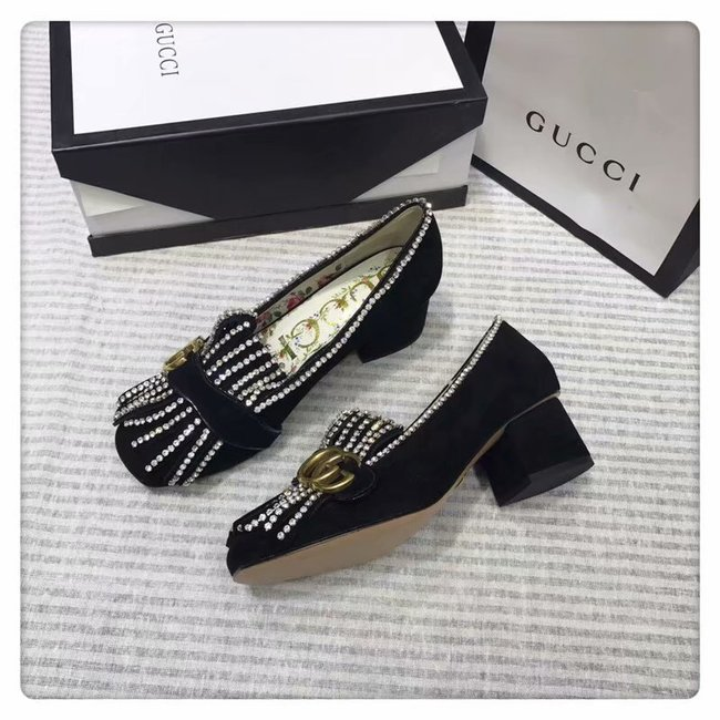 Gucci leather mid-heel pump GG1467BL-2