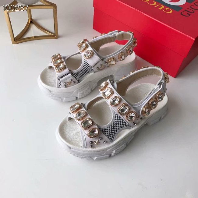 Gucci Metallic leather sandal with crystals GG1476JYX-3