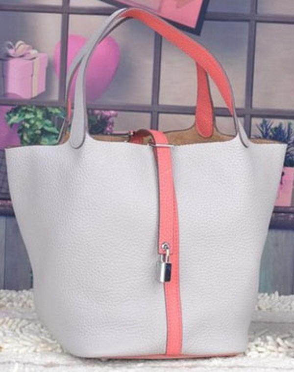 Hermes Picotin Lock 22cm Bags Litchi Leather HPL8618 White&Pink