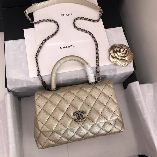 Chanel original Caviar leather flap bag top handle A92290 Light gold&silver-Tone Metal