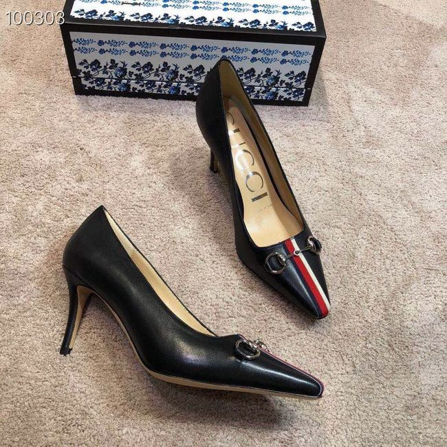 Gucci GG mid-heel pump with Double G GG1478BL-3 7cm height