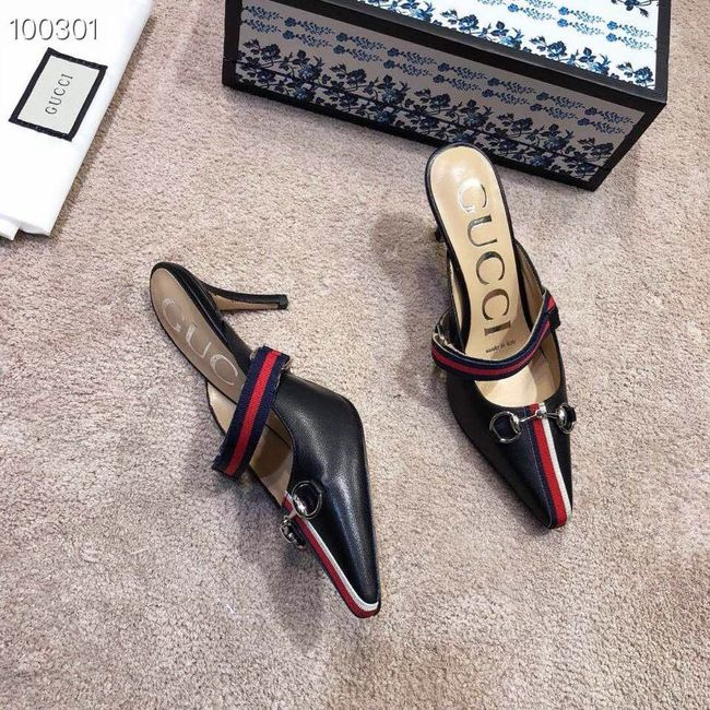 Gucci GG mid-heel pump with Double G GG1481BL-1 7cm height