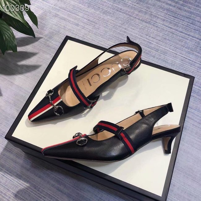 Gucci GG mid-heel pump with Double G GG1482BL-2
