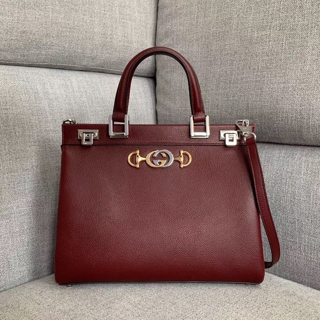 Gucci Zumi grainy leather medium top handle bag 564714 Burgundy