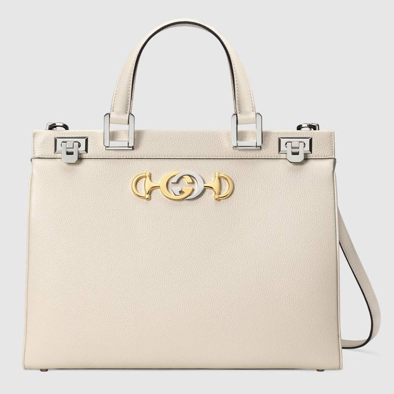 Gucci Zumi grainy leather medium top handle bag 564714 white