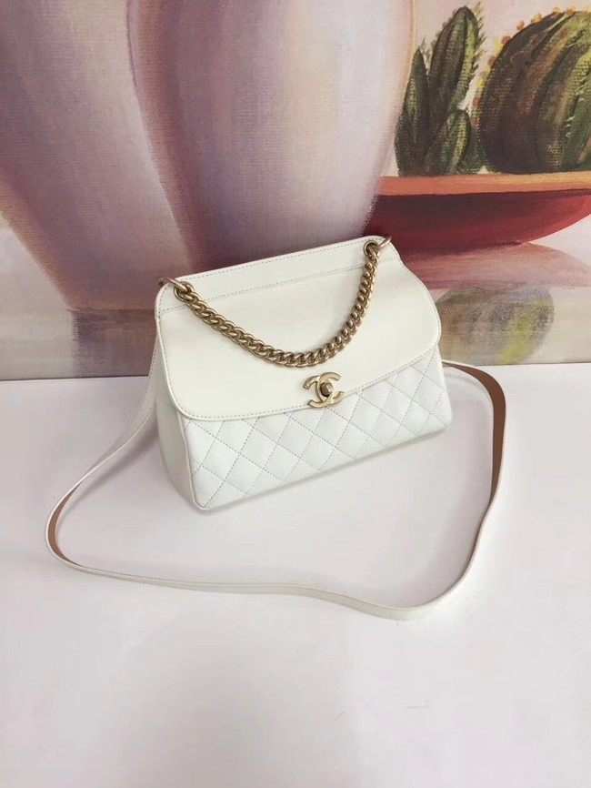 Chanel Calfskin & gold-Tone Metal S0667 white