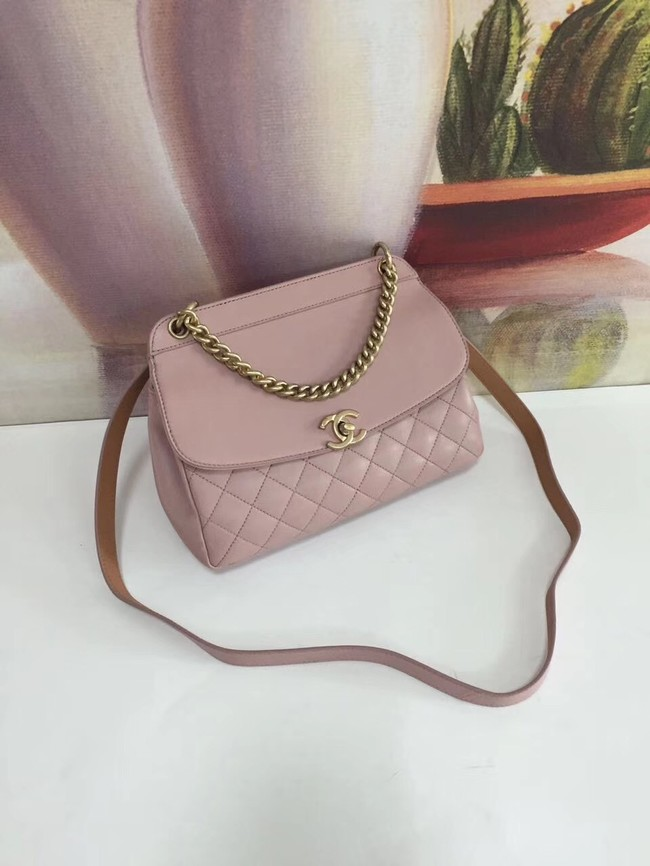 Chanel Calfskin & gold-Tone Metal S0667 pink