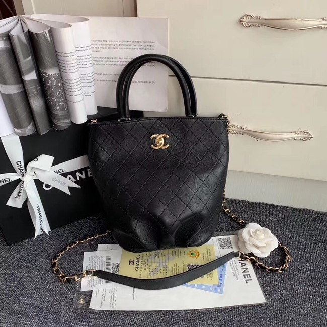 Chanel Calfskin & gold-Tone Metal S0657 black