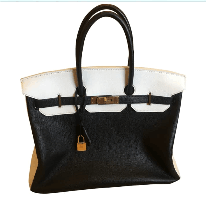 Hermes Borsa Birkin In Pelle Original Leather Black&White H35 Gold