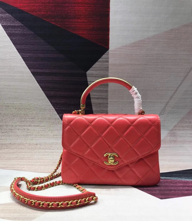 Chanel Sheepskin & gold-Tone Metal small Tote Bag AS0625 red