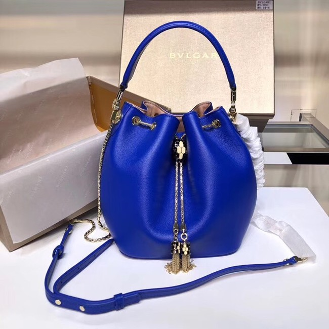 BVLGARI Serpenti Forever leather flap bag B287614 blue