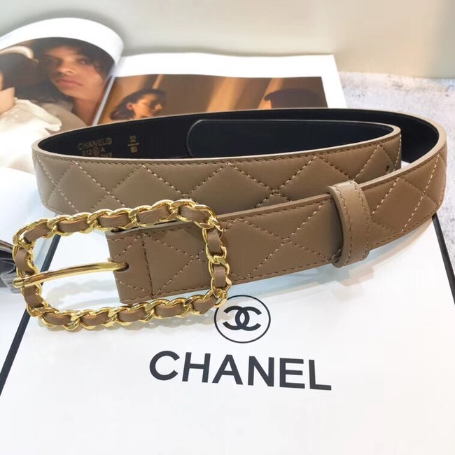 Chanel Calf Leather Belt Wide with 30mm 56599